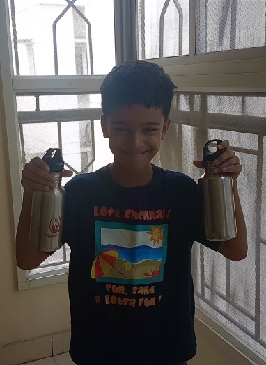 Aadhav never leaves home without his steel bottle